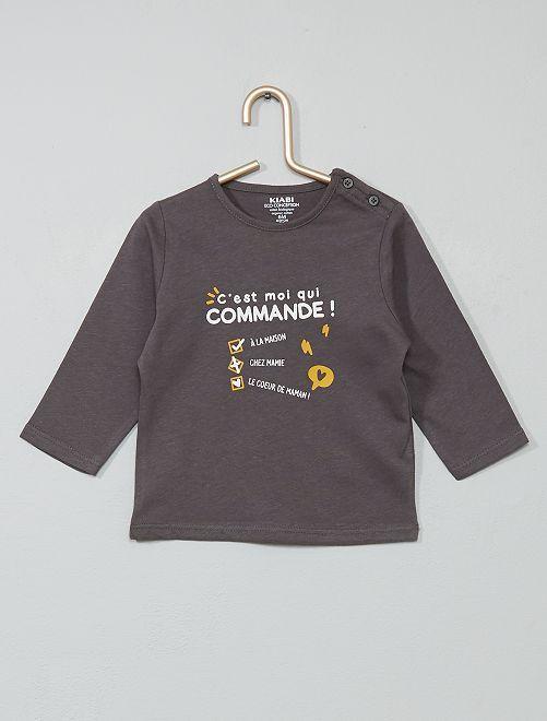T-shirt coton bio                                                                                                                                                                                                     gris/liste