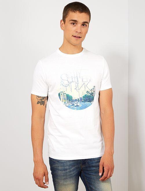 T-shirt coton bio imprimé                                                                                                                                                                                                                                                     blanc city Homme
