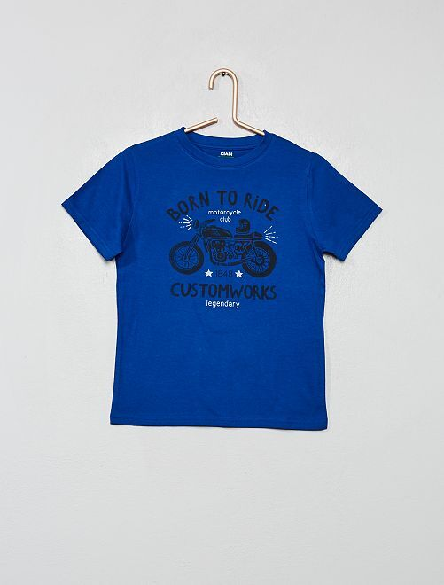 T-shirt coton bio imprimé                                                                                                                                         bleu/moto