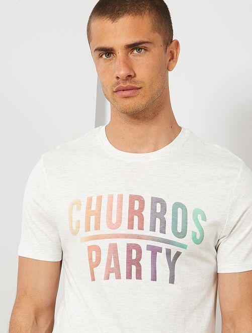 T-shirt coton bio imprimé                                                                                                                                                                                                                                                     écru chiné churros Homme