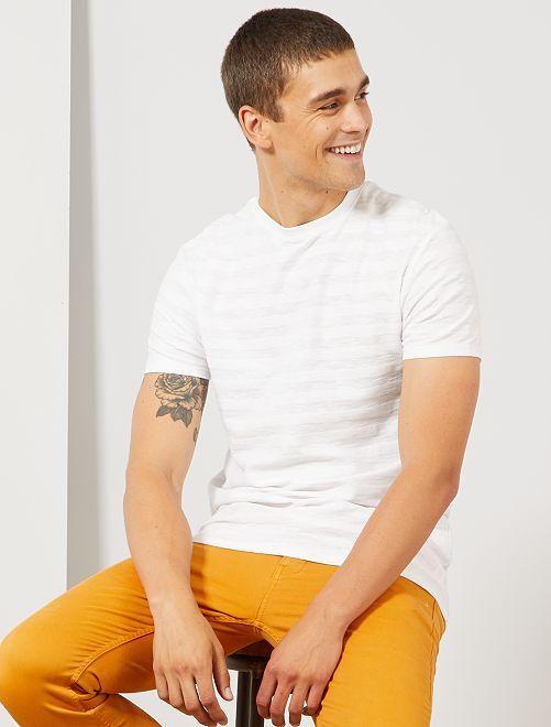 T-shirt coton bio jeu de mailles                                                                 blanc
