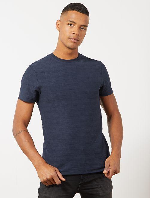 T-shirt coton bio jeu de mailles                                                                 bleu marine