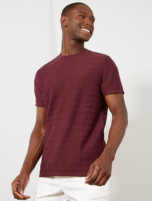 T-shirt coton bio jeu de mailles                                                                             bordeaux