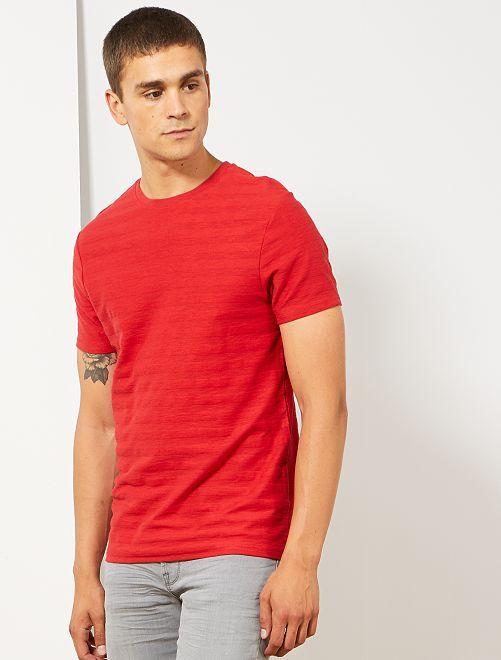 T-shirt coton bio jeu de mailles                                                                             ROUGE Homme