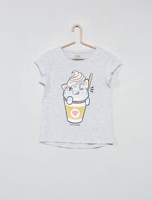 T-shirt coton bio pailleté                                                                     gris Fille