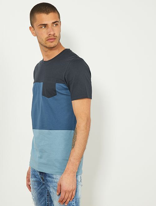 T-shirt coton bio 'Produkt'                                         bleu marine/bleu pétrole/bleu gris Homme