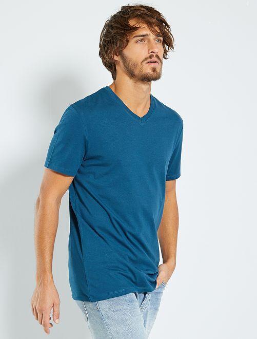 T-shirt coton col V                                                                                                                 bleu canard