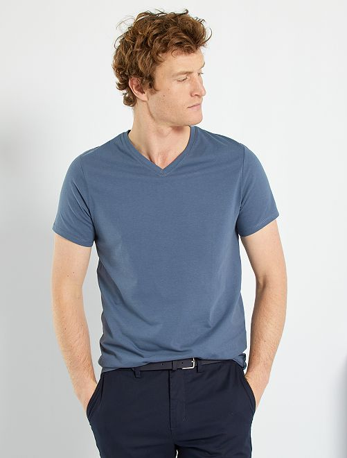 T-shirt coton col V                                                                                                                                                                             bleu gris