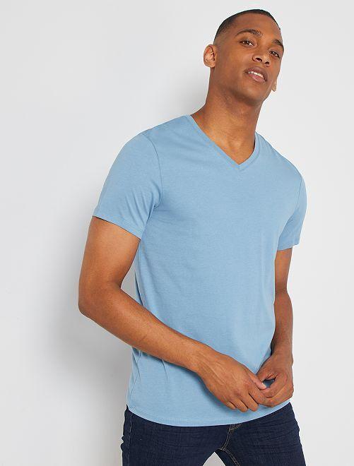 T-shirt coton col V                                                                                                                                                                                                                                                                             bleu grisé