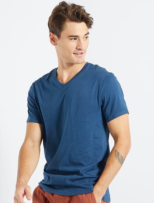 T-shirt coton col V                                                                                                                                                                             bleu