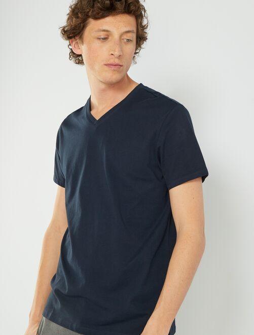 T-shirt coton col V                                                                                                                                                                                                                                                     bleu marine