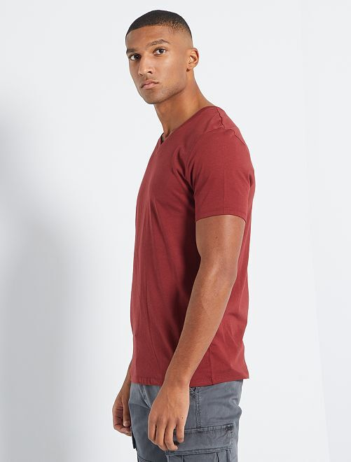 T-shirt coton col V                                                                                                                                                                                                     bordeaux