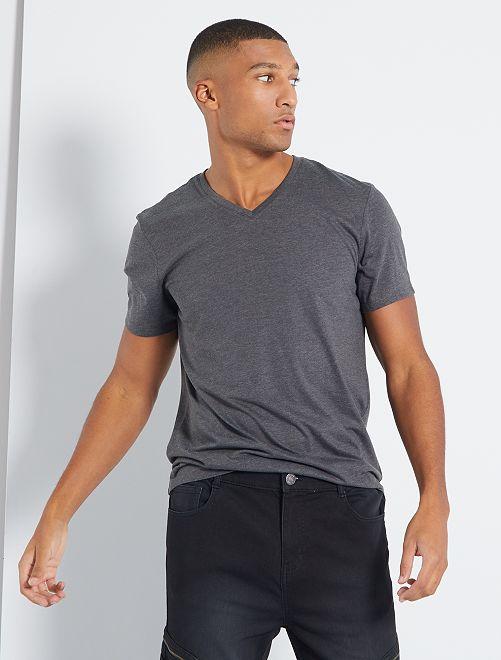 T-shirt coton col V                                                                                                                                                                                                     gris foncé chiné