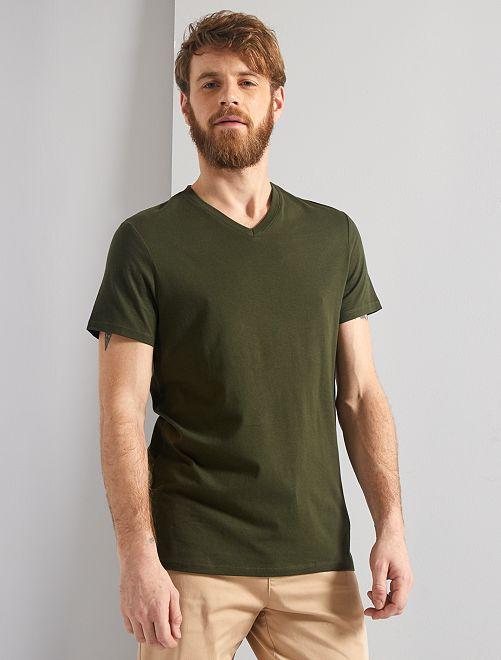 T-shirt coton col V                                                                                                                                                                                                                                                                             kaki