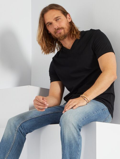 T-shirt coton col V                                                                                                                                                                                 noir