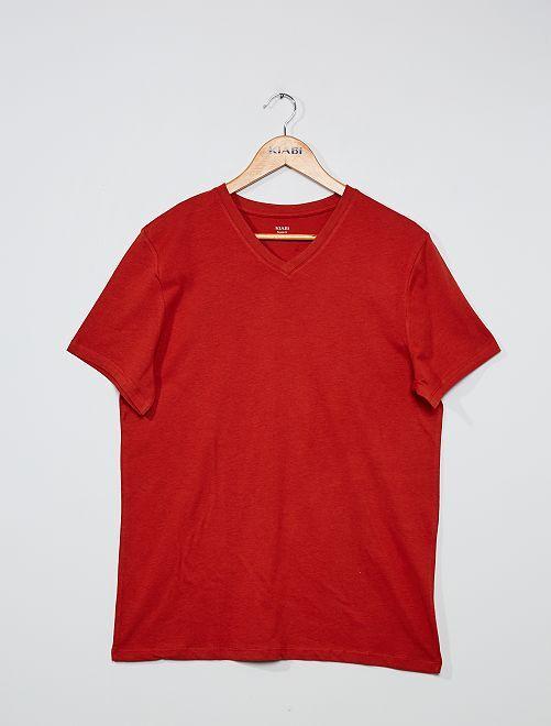 T-shirt coton col V                                                                                                                                                                                                                                                                             orange foncé