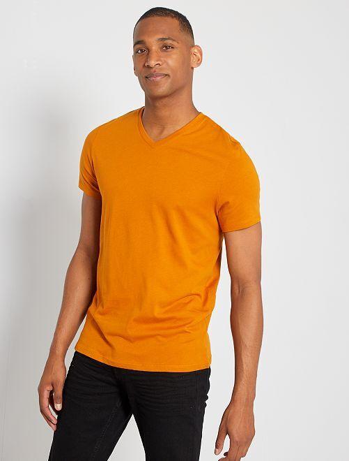 T-shirt coton col V                                                                                                                                                                                                                                                                                         orange