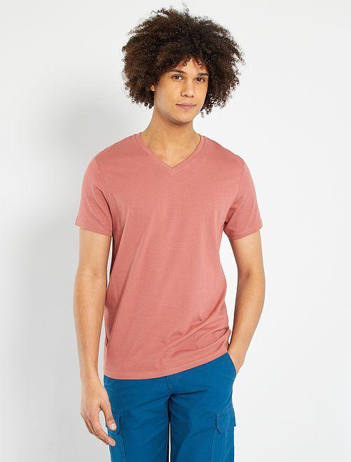 T-shirt coton col V                                                                                                                                                                             rose