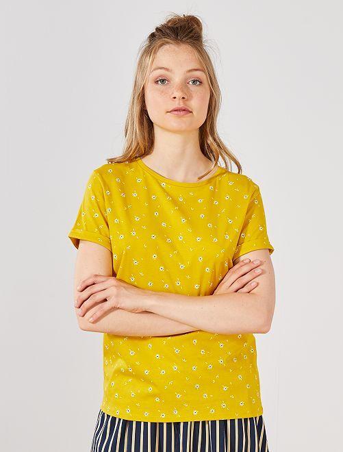 T-shirt coton 'éco-conception'                                                                                                                                                                                                     JAUNE Femme