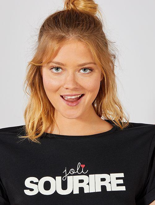 T-shirt coton 'éco-conception'                                                                                                                                                                                                     noir sourire Femme