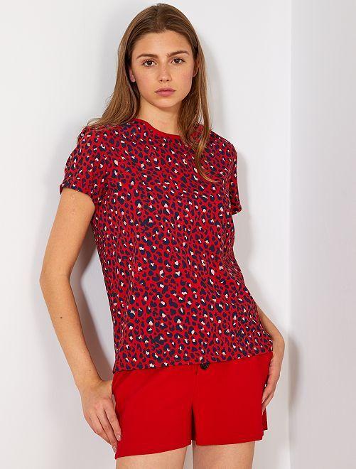 T-shirt coton 'éco-conception'                                                                                                                                                                                                                             rouge léopard