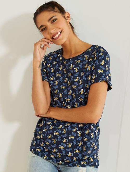 T-shirt coton manches courtes                                                                             marine fleurs Femme