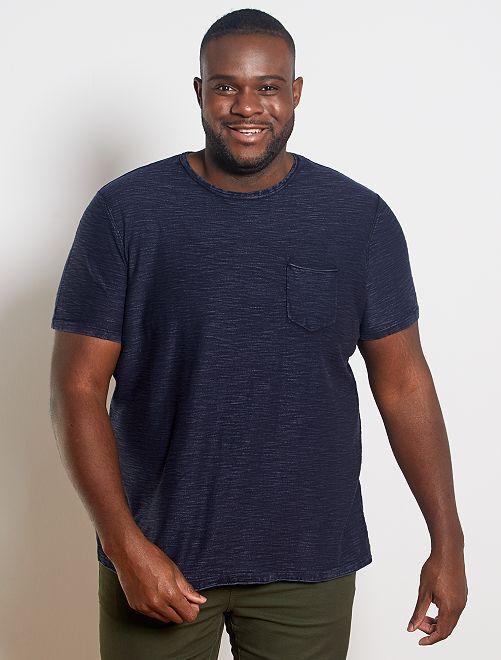 T-shirt coton tetxuré                                         bleu marine