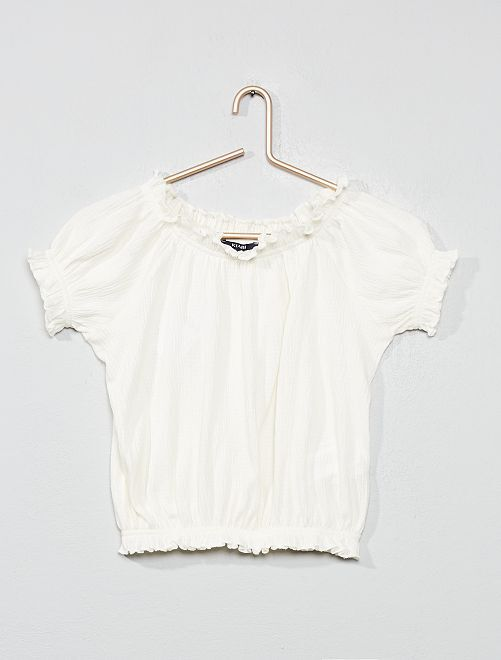 T-shirt crêpé bardot                                                                     écru