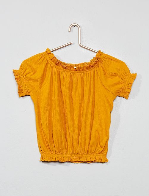 T-shirt crêpé bardot                                                                                 jaune