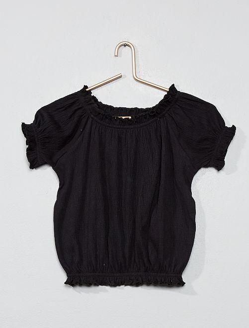 T-shirt crêpé bardot                                                                                         noir
