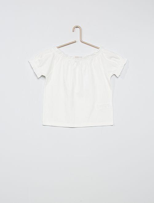 T-shirt crop bardot                                                                                                                 blanc