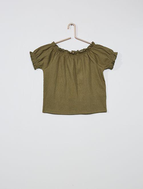 T-shirt crop bardot                                                                                                                 kaki