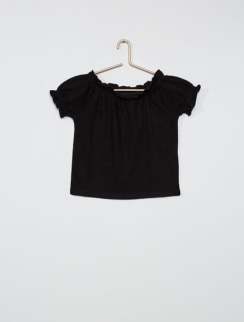 T-shirt crop bardot                                                                                                                 noir
