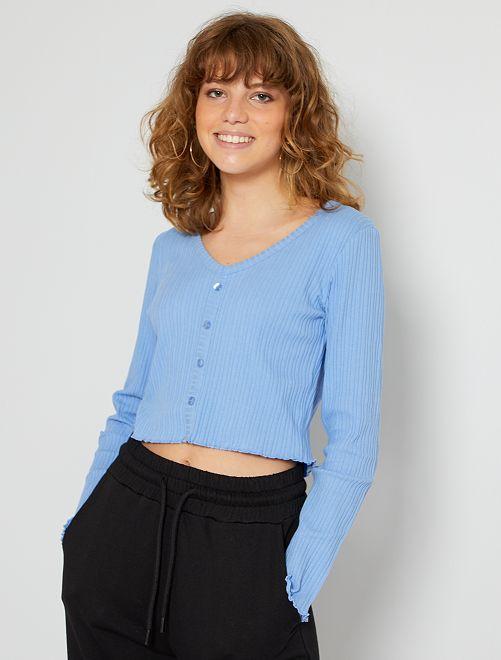 T-shirt cropped boutonné                                                     bleu