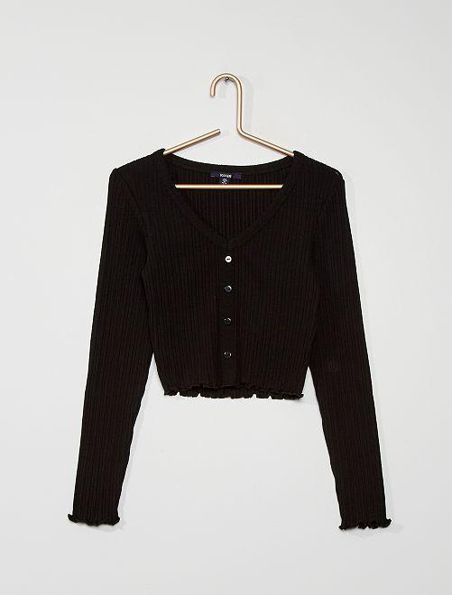 T-shirt cropped boutonné                                                     noir