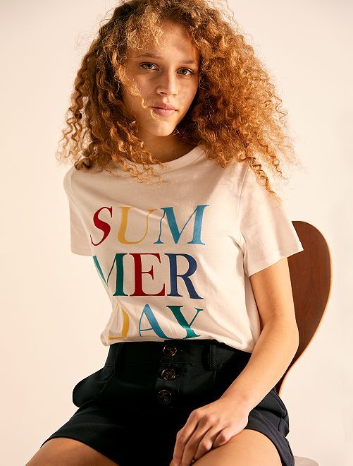 T-shirt cropped 'éco-conception'                                                                                         écru summer