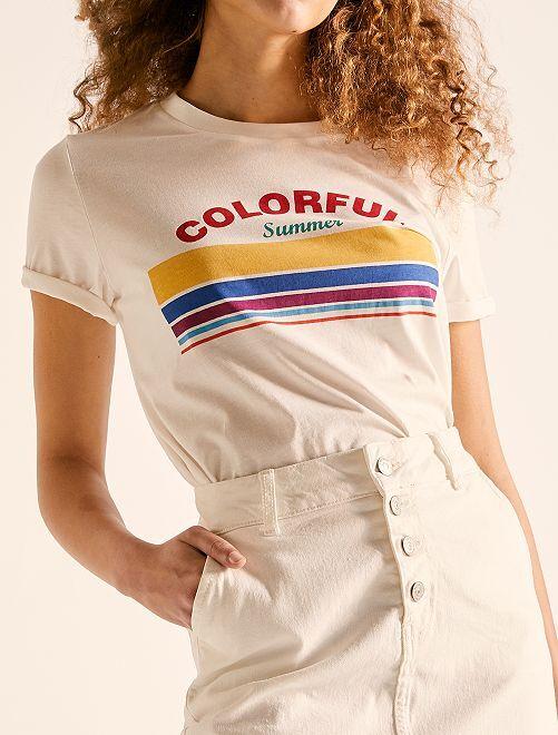 T-shirt cropped en coton bio                                                                             écru colorful Femme