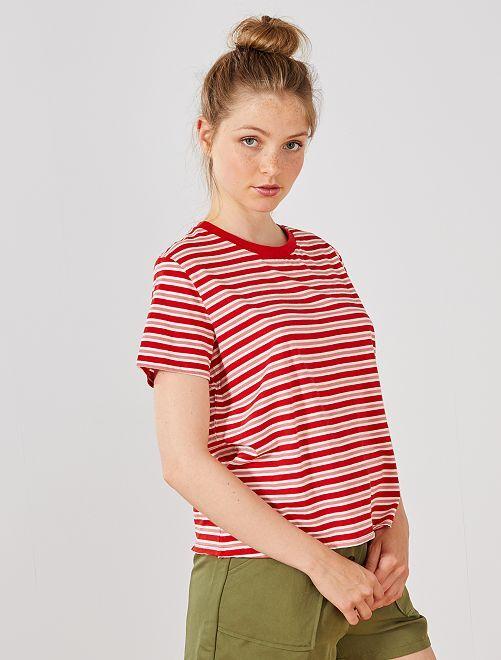 T-shirt cropped en coton bio                                                                             rouge Femme