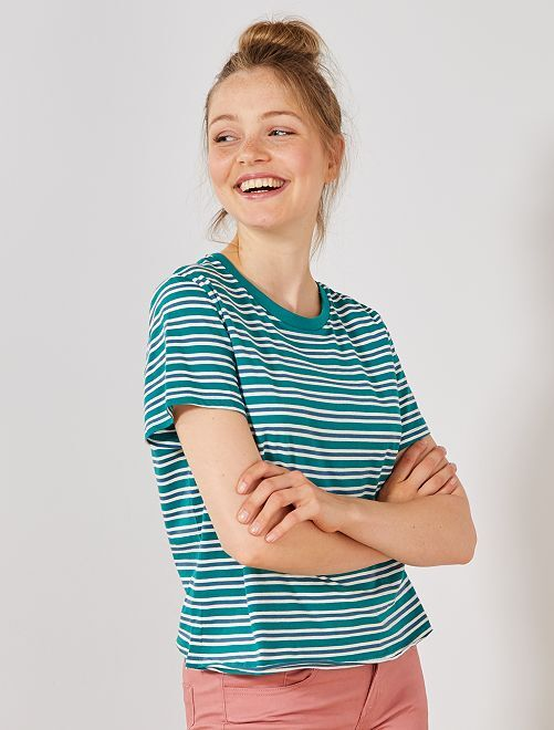T-shirt cropped en coton bio                                                                             vert Femme