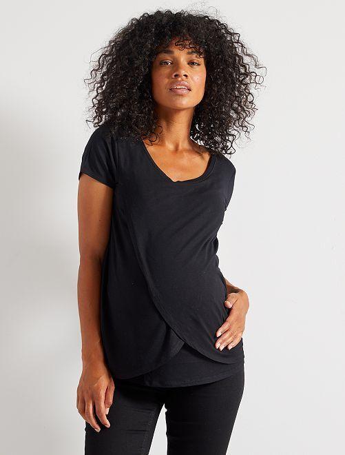 T-shirt d'allaitement avec pans                                         noir