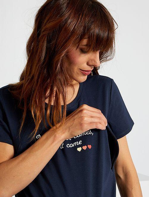 T-shirt d'allaitement avec zip                                                     marine