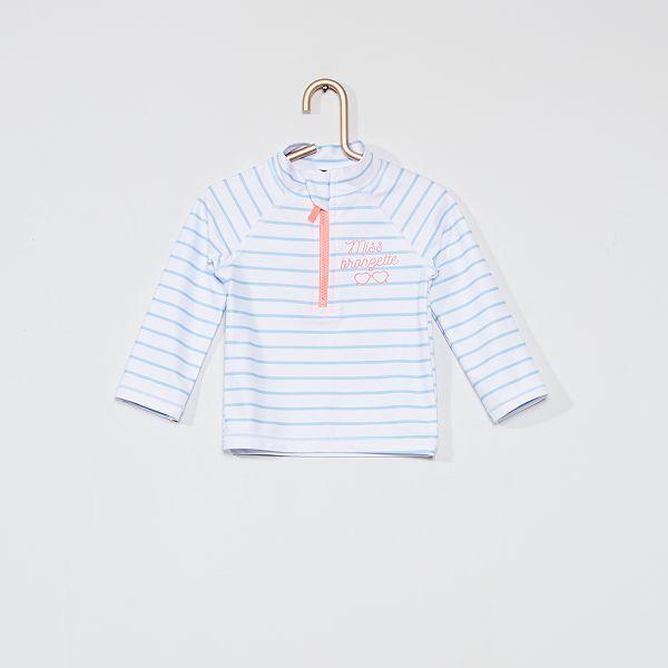 T-shirt de bain anti-uv Bébé fille - bleu