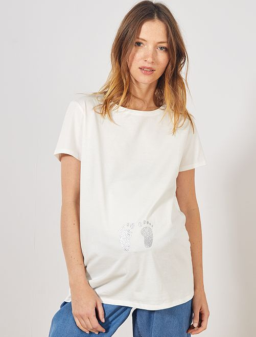 T-shirt de grossesse 'Eco-conception'                                                     blanc cassé