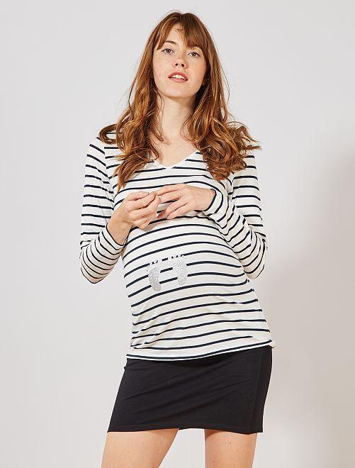 T-shirt de grossesse éco-conçu                                                                 rayé blanc / marine
