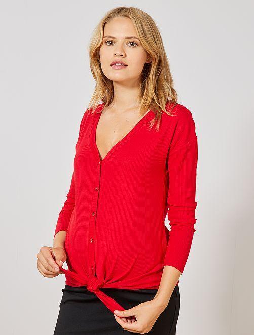 T-shirt de grossesse en maille côtelée                                         rouge Vêtement de grossesse