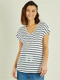 Femme du 34 au 48 - T-shirt de grossesse imprimé pied - Kiabi