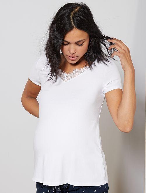 T-shirt de maternité à dentelle                             blanc