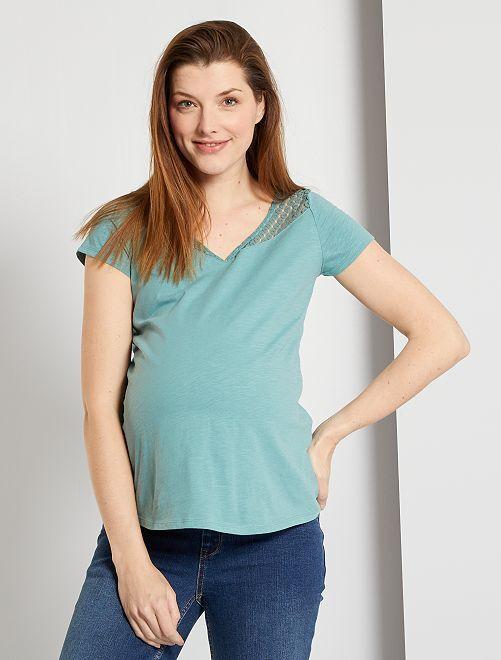 T-shirt de maternité avec dentelle                                         bleu