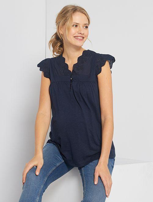 T-shirt de maternité broderie anglaise                                         bleu marine