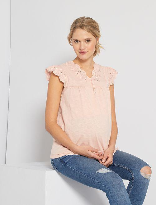 T-shirt de maternité broderie anglaise                                         ROSE